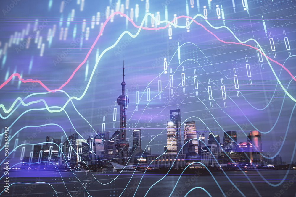 Fototapeta Forex chart on cityscape with tall buildings background multi exposure. Financial research concept.