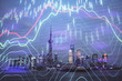 canvas print picture - Forex chart on cityscape with tall buildings background multi exposure. Financial research concept.