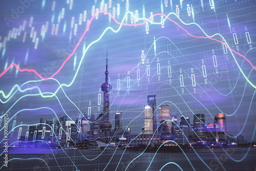 Poster Fleur Forex chart on cityscape with tall buildings background multi exposure. Financial research concept.
