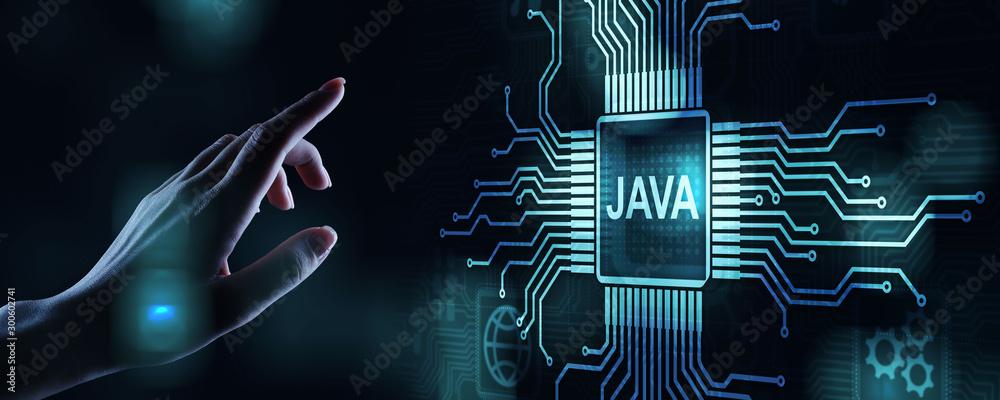 Fototapety, obrazy: Java programming language application and web development concept on virtual screen.