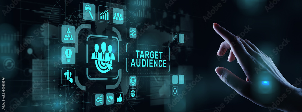 Fototapeta Target audience customer segmentation marketing strategy concept on virtual screen.