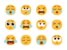 Yellow Crying Emoji Faces. Cry...