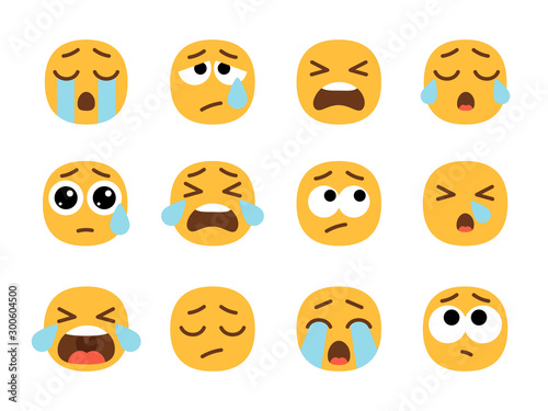 Yellow crying emoji faces Wallpaper Mural