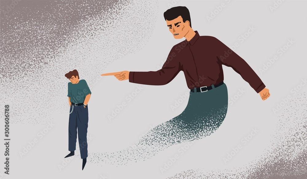 Fototapety, obrazy: Inner control metaphor vector illustration. Depressed man with guilt complex. Mental health problem, self discipline concept. Tormenting internal restrictions, psychological boundaries idea.