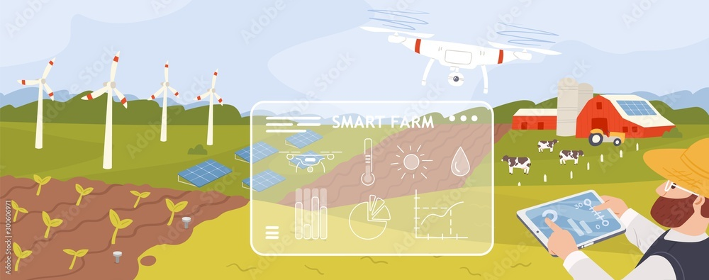 Fototapety, obrazy: Smart farm flat vector illustration. Innovative approach in agricultural industry. Cartoon farmer monitoring crops growth with drone. Modern farmland with wind turbines and solar panels.