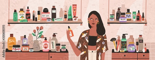 Cuadros en Lienzo  Natural cosmetics, eco products choosing in store flat illustration