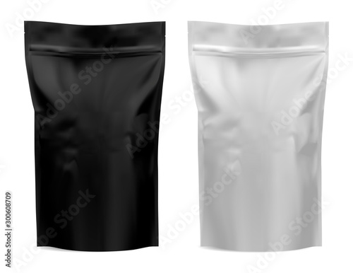 Obraz Coffee package. Foil bag mockup. Flour, tea paper pouch blank design. Black and white food product mock up. Realistic plastic 3d template for pasta. Dog chips snack silver sachet. Sack blank - fototapety do salonu