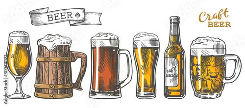 beer set color Canvas Print