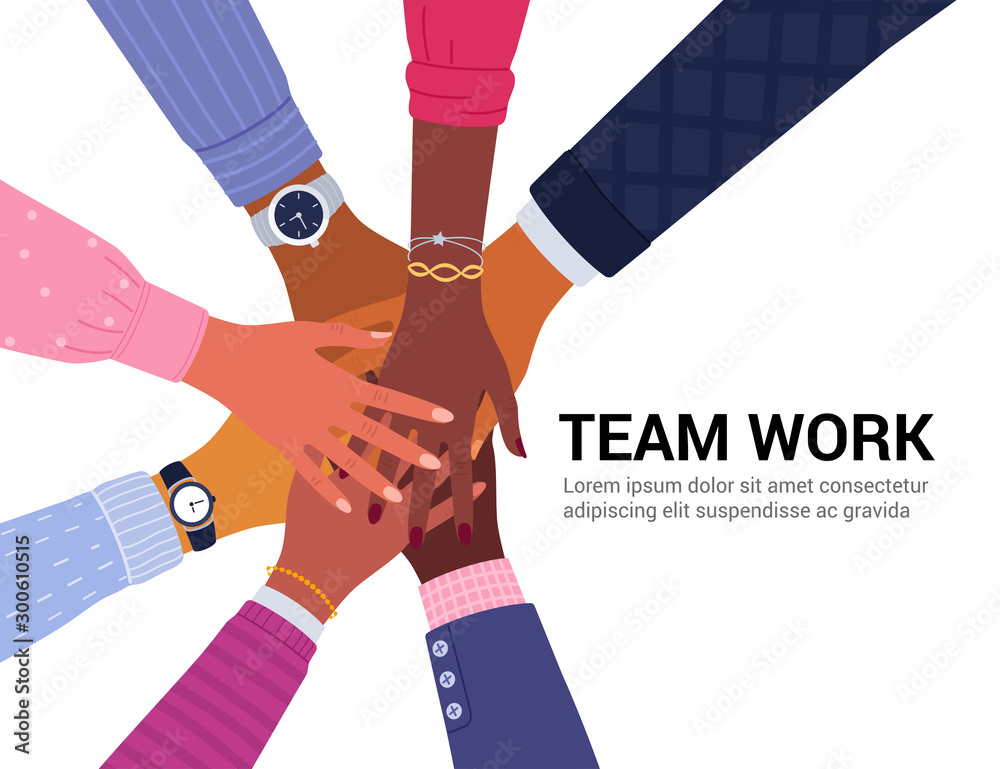 Fototapeta Team work concept. Vector illustration of young diverse business people putting their hands together. Place for your text. Isolated on white.