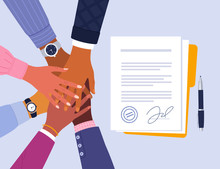 Conclusion Of Business Agreement. Vector Illustration Of Of Young Diverse Business People Putting Their Hands Together Over Signed Documents. Isolated On Light Blue Background.