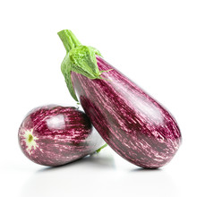 Two Ripe Graffiti Eggplants Isolated On A White Background. Food Concept.