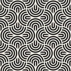 Vector seamless pattern. Concentric bold circles. Geometric striped ornament....