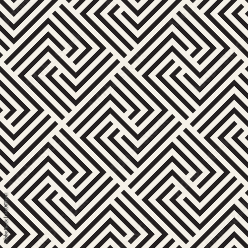 Fototapeten Künstlich Vector seamless stylish pattern. Geometric striped ornament. Monochrome spiral lines lattice.