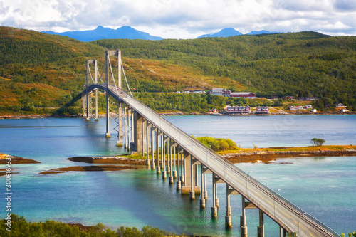 Beautiful bridge at summer day in Lofoten islands, Norway. Nordic scenery. Travel