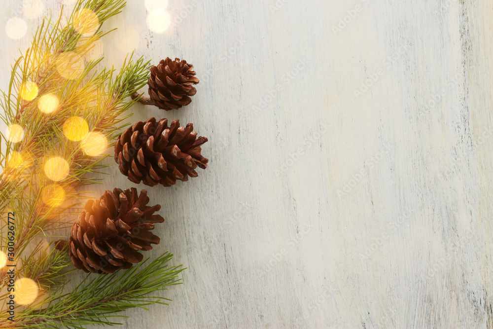 Fototapety, obrazy: holidays concept of pine cones decoration for christmas
