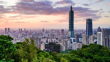 Arrival View Of Taipei Cityscape View From The Elephant Mountain(Xiangshan) With Sunset Twilight Background