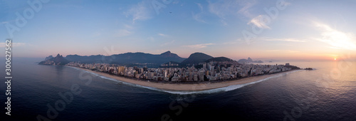 Aerial super wide panorama of Rio de Janeiro with Ipanema and Leblon beach in th Wallpaper Mural