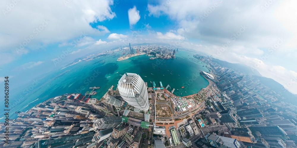 Panoramic aerial view of Hong Kong City