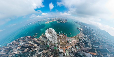 Panoramic aerial view of Hong Kong City