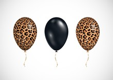 Vector Set Of 3d Realistic Luxury Balloons Isolated On White Background. Black And Leopard Skin Print Colors Air Balloons. Design For Black Friday, Sale, Womans Day, Party, Birthday.