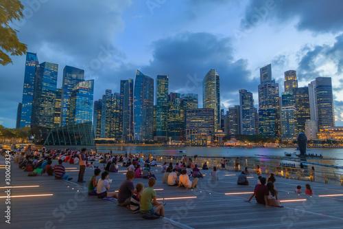 Singapore night Landscape 01 Wallpaper Mural