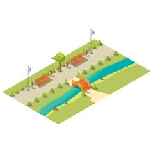 Isometric Park With Benches, T...