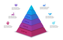 Vector Abstract Pyramid For Infographic With 6 Step Or Options. Business Template For Presentation. Illustration Of Five Levels Of Hierarchy.