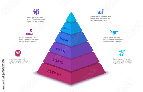 Obraz na płótnie Vector abstract pyramid for infographic with 6 step or options
