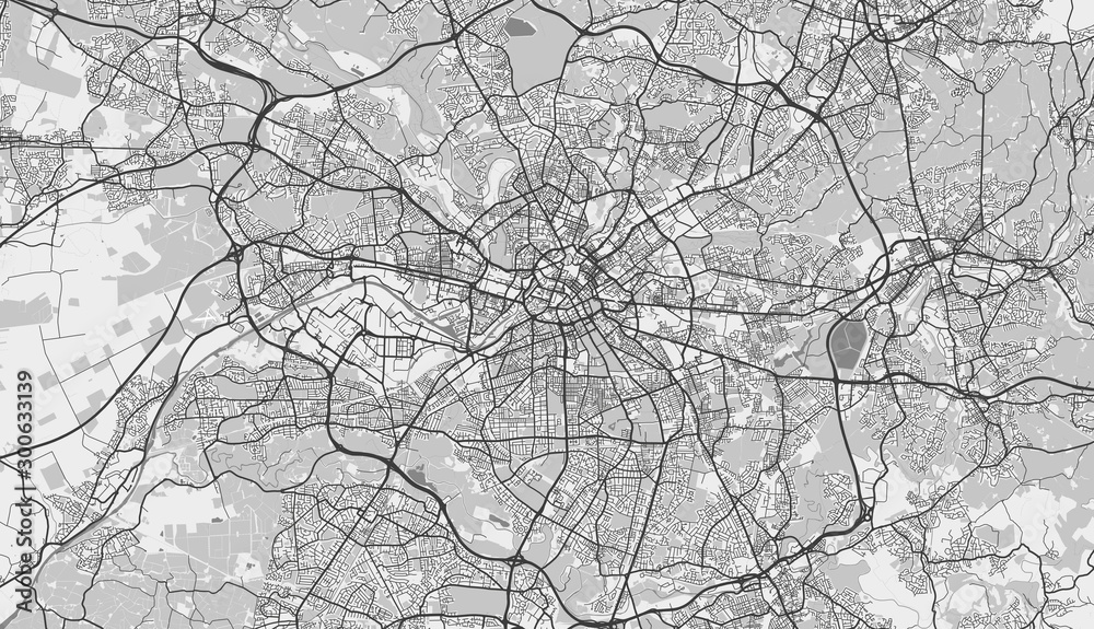 Fototapeta Detailed map of Manchester, UK