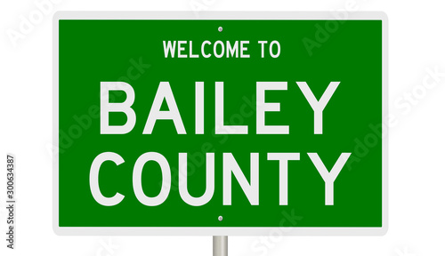 Rendering of a green 3d highway sign for Bailey County Canvas Print