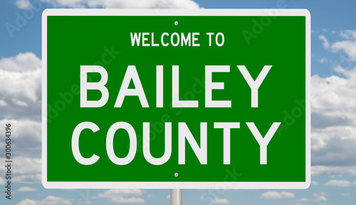 Photo Rendering of a green 3d highway sign for Bailey County