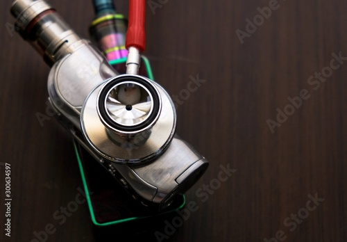Conceptual image of uncertainty of health safety of e-cigarettes Wallpaper Mural