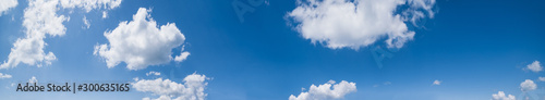 Obraz Blue sky with clouds (high resolution wide background panorama). - fototapety do salonu
