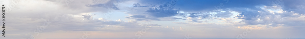 Fototapeta Blue morning sky with clouds (wide high resolution background panorama).