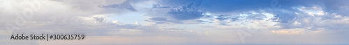 Blue morning sky with clouds (wide high resolution background panorama). - 300635759
