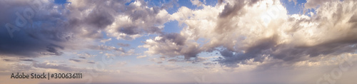 Obraz Blue morning sky with clouds (wide background panorama). - fototapety do salonu