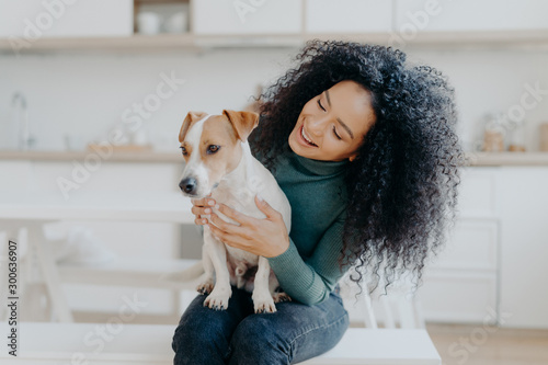 Obraz na plátně  Happy female owner of jack russell terrier dog, feels responsibility of caring about pet, has bushy dark curly hair, sits against blurred kitchen background