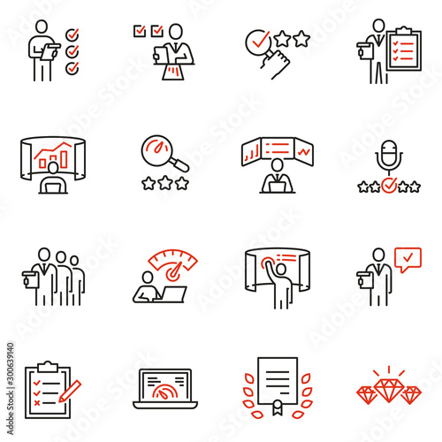 Vector set of linear icons related to analytics, data processing and conclusion. Auditor, analyst and expertise. Mono line pictograms and infographics design elements Wall mural