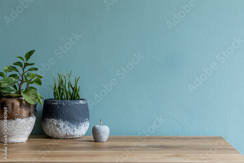 Stylish and design composition of home decor on living room with plants in different pots, cement apple and wooden table Tapéta, Fotótapéta