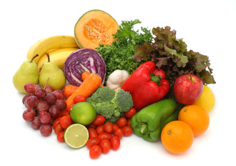 Group of health fruit and vegetables
