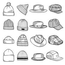 Set Of Fashion Men's Caps And ...