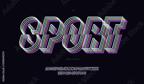 Fotomural  Sport vector font neon line style