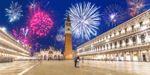 New Years Firework Display Over The San Marco Square In Venice City, Italy