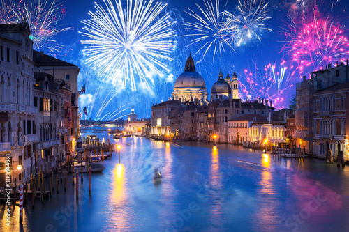 Leinwand Poster  New Years firework display the Santa Maria della Salute Basilica in Venice, Ital