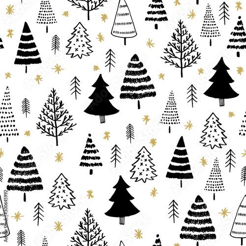 zimowy-graficzny-wzor-z-choinki-w-kolorze-czarnym-na-bialym-tle-i-zlotych-gwiazd-projektowanie-powierzchni-dla-tekstyliow-tkanin-tapet-opakowan-prezentow-papieru-notatnikow-i-opakowan