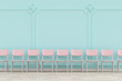 canvas print picture - 3D rendering of chairs in a row in a big turquoise waiting room with stucco