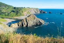 Rugged California Coast And Rock Formations On Beach - California, USA