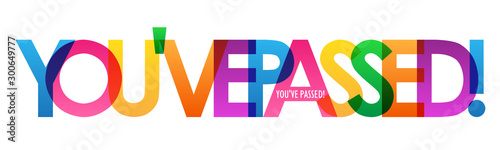 Fotografiet YOU'VE PASSED! rainbow vector typography banner