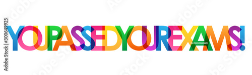 YOU PASSED YOUR EXAMS! rainbow vector typography banner Fototapet