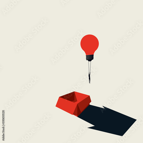 Think outside the box business creative vector concept with businessman flying away on lightbulb balloon. Wall mural